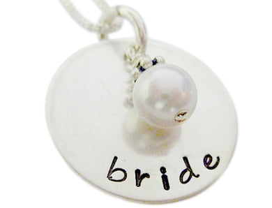 Hand Stamped Bridal Necklace