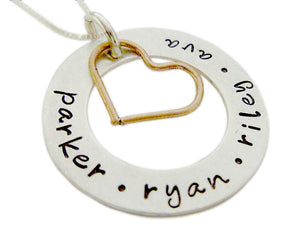 Personalized Eternity Circle with Copper Heart Charm