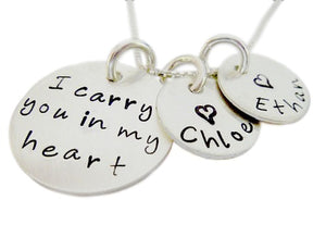 Personalized I Carry You in my Heart Necklace