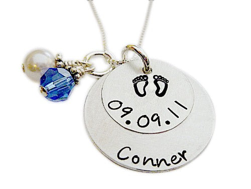 Stamped Personalized Stacked Birth Necklace