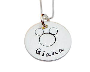 Stamped and Personalized Mouse Necklace