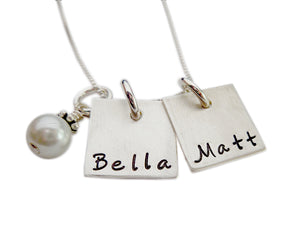 Personalized Square with Pearl Necklace