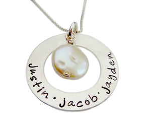 Personalized Washer with Freshwater Pearl Necklace