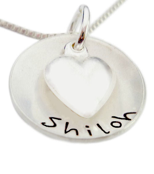 Personalized Domed Name with Heart Charm