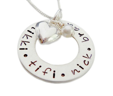 Personalized Washer with Heart Charm Stamped Necklace