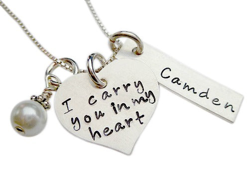 Personalized I Carry You in my Heart with Rectangle