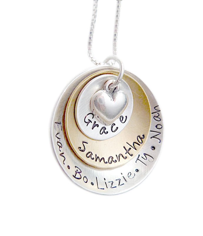 Personalized Mixed Metal Stacked and Domed with Heart Necklace