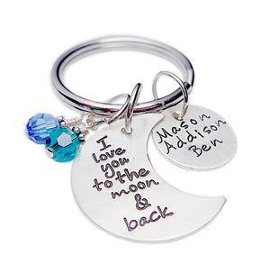 Personalized I Love You to the Moon and Back Keychain