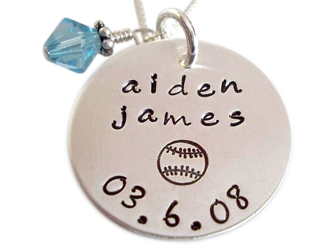 Hand Stamped Name and Birthstone Necklace