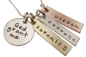 God Grant Me Serenity Courage Wisdom Necklace