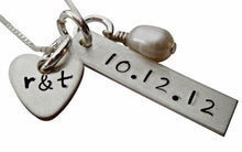 Load image into Gallery viewer, Hand Stamped Anniversary Necklace with Freshwater Pearl