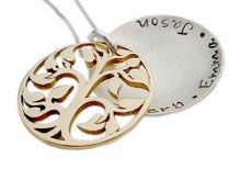 Load image into Gallery viewer, Hand Stamped Family Tree Locket Necklace