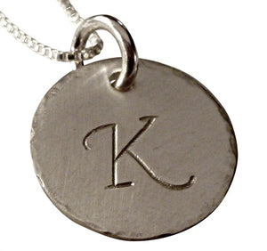 Hand Stamped Hammered Initial Necklace