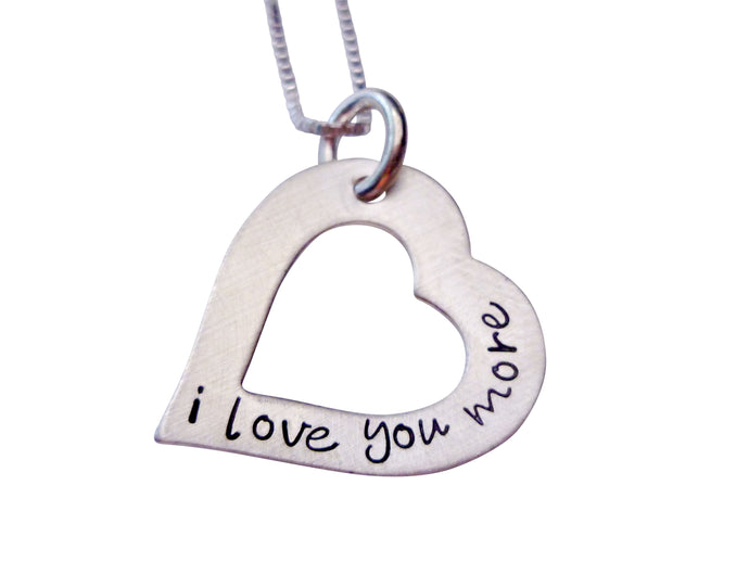Hand Stamped I Love You More Heart Necklace