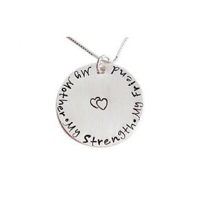 Stamped My Mother My Strength My Friend Necklace