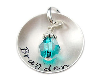 Hand Stamped Name Charm with Dangle
