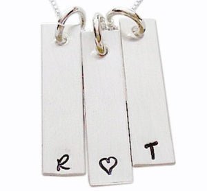 Hand Stamped Rectangle Initials Necklace