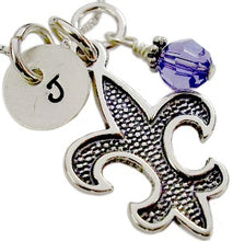 Load image into Gallery viewer, Initial Saints Fleur De Lis Necklace With Birthstone