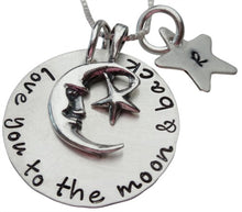 Load image into Gallery viewer, Love You to the Moon with Initial Star Necklace