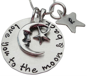 Love You to the Moon with Initial Star Necklace