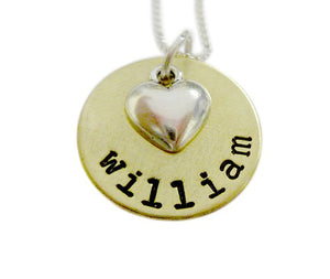 Personalized Brass Name with Heart Charm