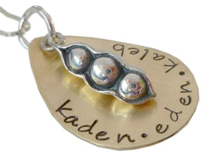 Personalized Brass Peas in a Pod Necklace