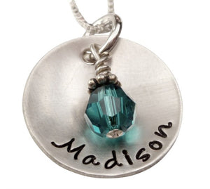 Personalized Domed Name With Birthstone