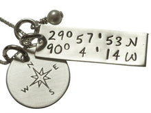 Load image into Gallery viewer, Personalized GPS Coordinates with Compass Necklace