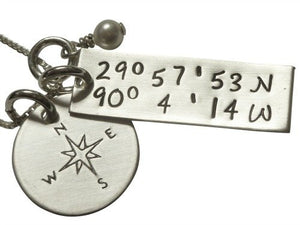 Personalized GPS Coordinates with Compass Necklace