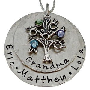 Personalized Hammered Family Tree Necklace