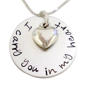 Personalized I Carry You with Heart Necklace