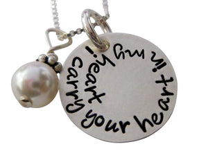 Personalized I Carry your Heart with Pearl Necklace
