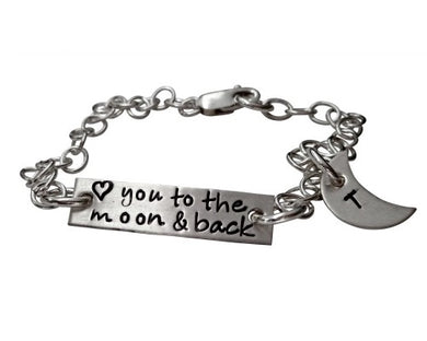 Personalized I Love You to the Moon and Back Bracelet