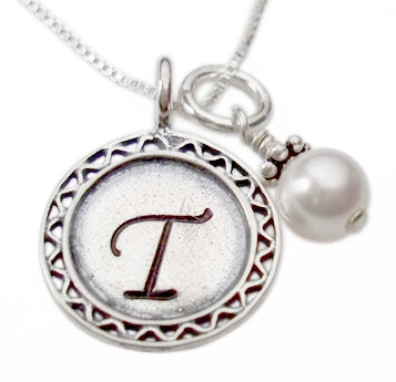 Personalized Initial Pendant with Pearl Necklace