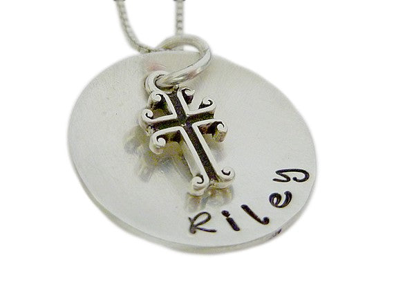 Personalized Keepsake Name with Cross Charm Necklace