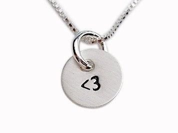 Personalized Less Than Three Heart Necklace
