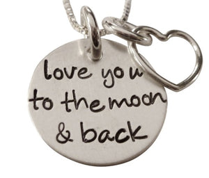 Personalized Love You to the Moon and Back Stamped Necklace