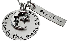 Load image into Gallery viewer, Moon and Back with Personalized Name Necklace