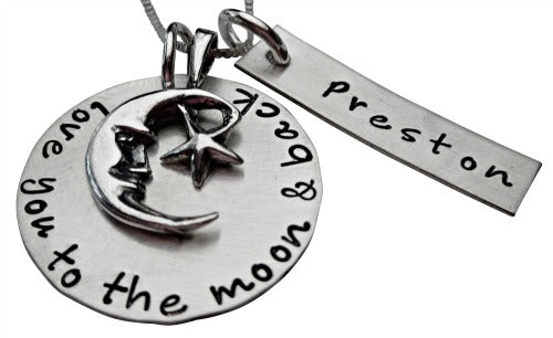 Moon and Back with Personalized Name Necklace