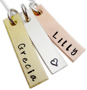 Personalized Hand Stamped Mixed Metal Rectangle Necklace
