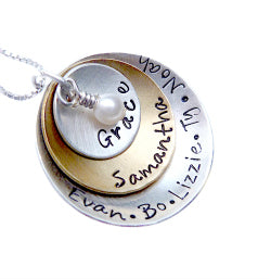 Personalized Mixed Metal Stacked and Domed Necklace with Swarovski Dangle