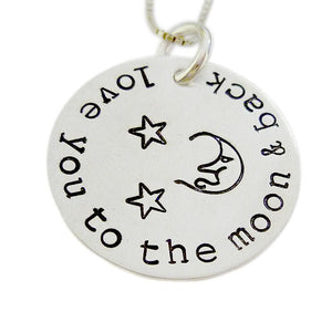 Personalized Moon Face and Stars Necklace