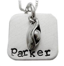 Load image into Gallery viewer, Personalized Square Pea in a Pod Necklace