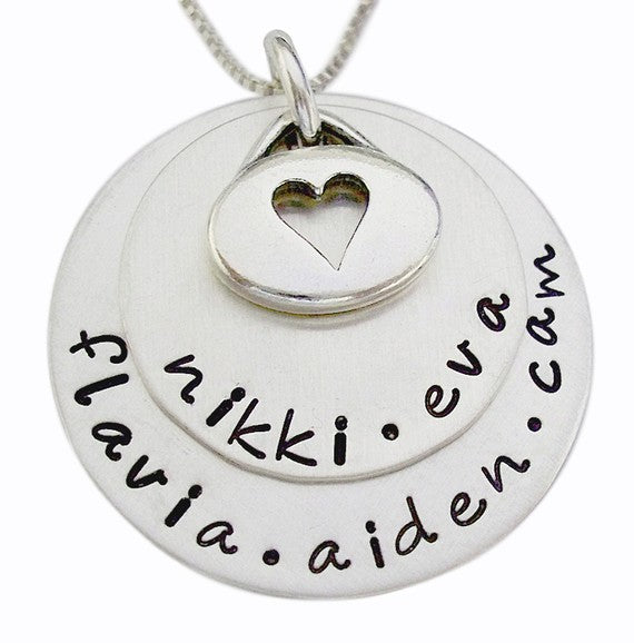 Personalized Stacked Necklace with Oval Charm