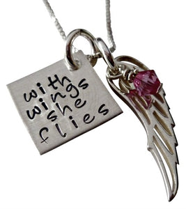 Personalized With Wings She Flies Necklace