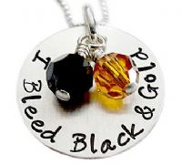 Load image into Gallery viewer, Stamped I Bleed Purple and Gold Team Necklace