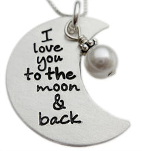 Load image into Gallery viewer, stamped I love you the moon and back necklace