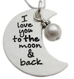 stamped I love you the moon and back necklace