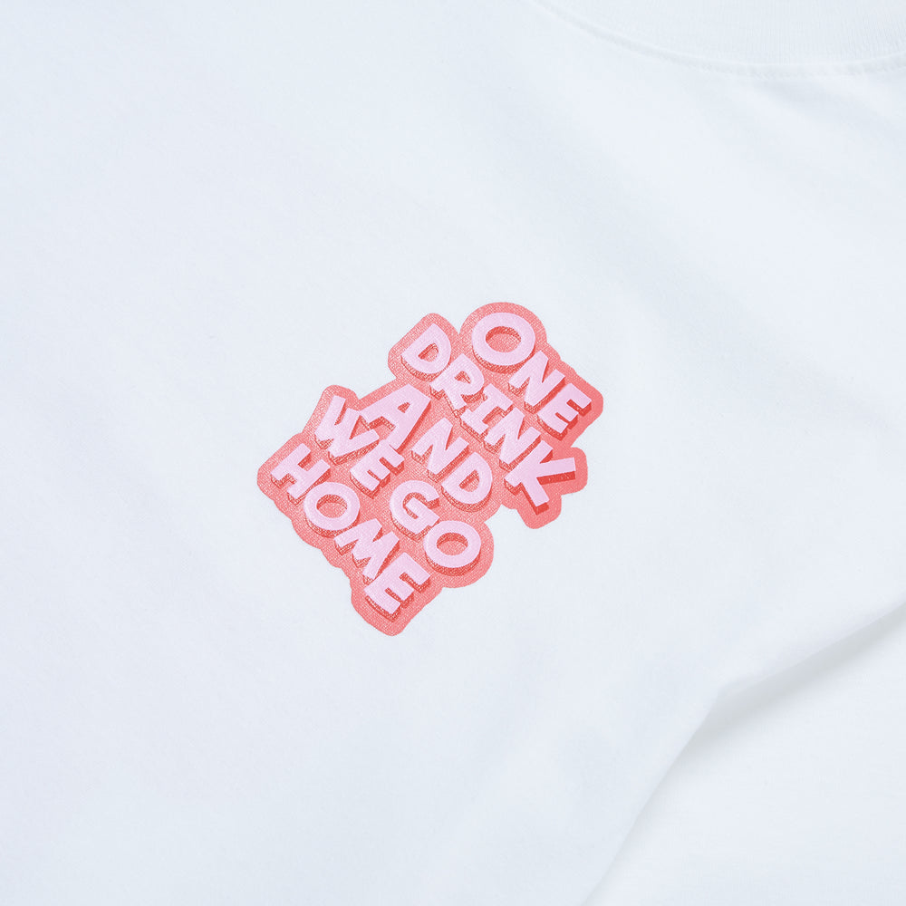 Bubble Logo Tee, White/Pink