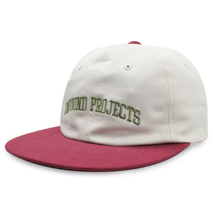 College 6 Panel Cap, Burgundy